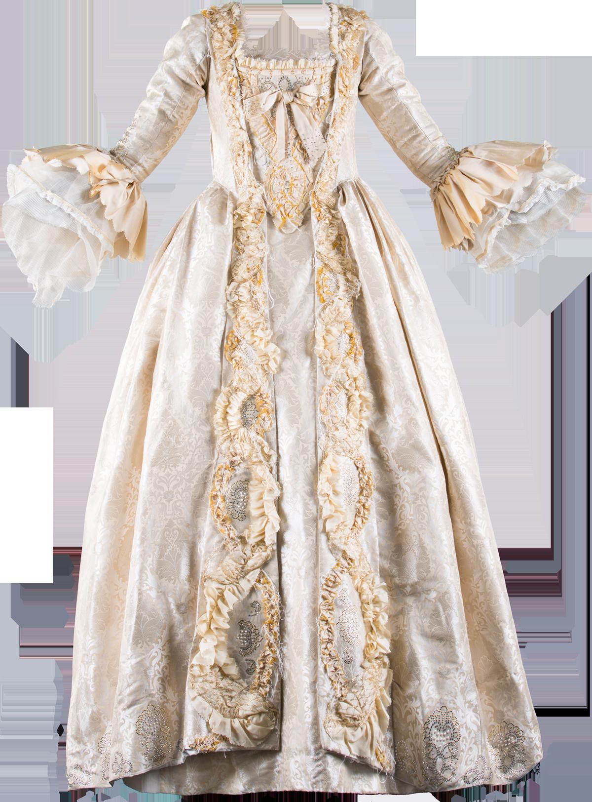 Beige silk ball gown in Watteau style - Sastrería Cornejo